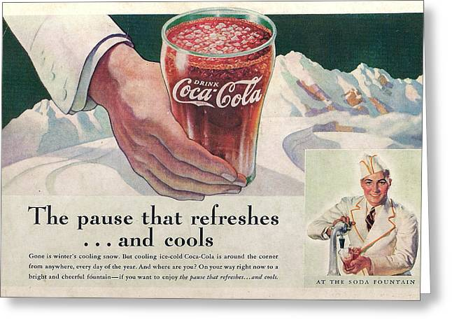Coca Cola 1937 Greeting Card by Georgia Fowler