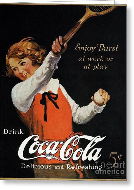Racquet Photographs Greeting Cards - Coca-cola Ad, 1923 Greeting Card by Granger