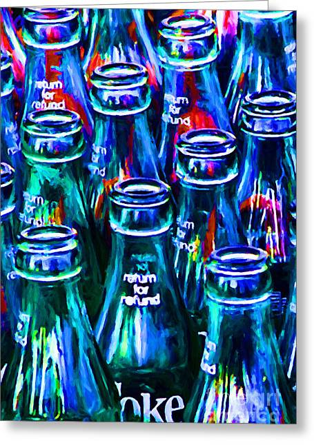 Food Digital Art Greeting Cards - Coca-Cola Coke Bottles - Return For Refund - Painterly - Blue Greeting Card by Wingsdomain Art and Photography