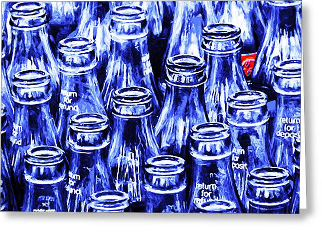 Wingsdomain Greeting Cards - Coca-Cola Coke Bottles - Return For Refund - Square - Painterly - Blue Greeting Card by Wingsdomain Art and Photography