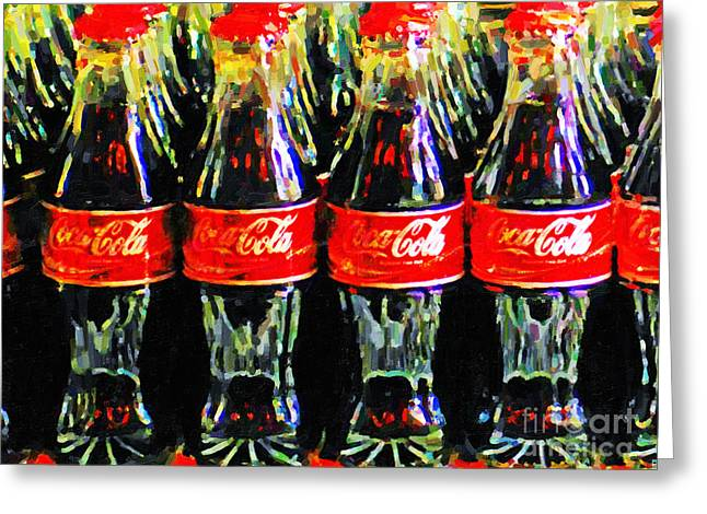 Food Digital Art Greeting Cards - Coca Cola Coke Bottles Greeting Card by Wingsdomain Art and Photography