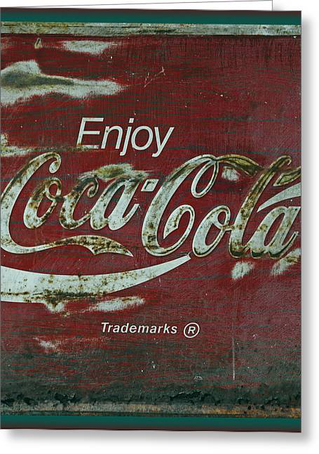 Closeup Coca Cola Sign Greeting Cards - Coca Cola Green Red Grunge Sign Greeting Card by John Stephens