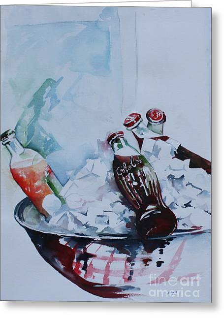 Bottle Cap Paintings Greeting Cards - Coca Cola on Ice Greeting Card by Peg Ott Mcguckin