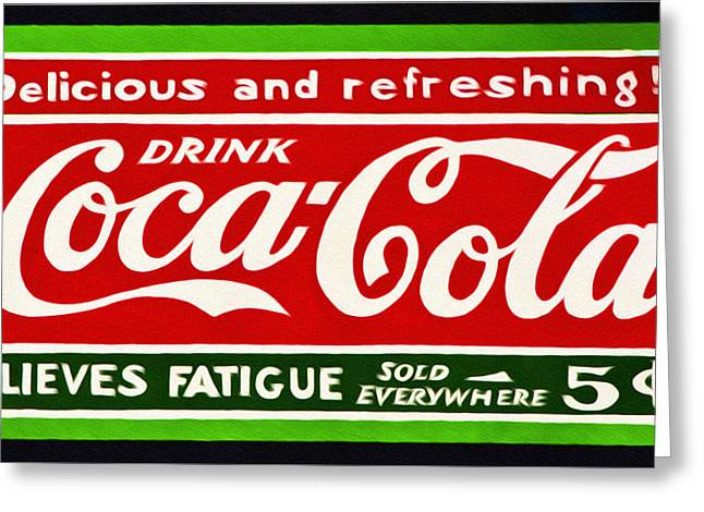 Fatigues Greeting Cards - Coca-Cola  Relieves Fatigue Greeting Card by Bill Cannon