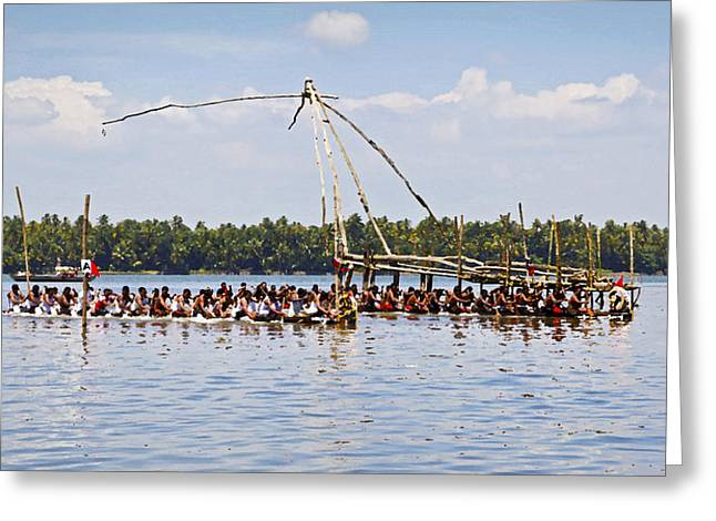 Bare Chested Greeting Cards - Cochin Boat Race Start Line Greeting Card by Kantilal Patel