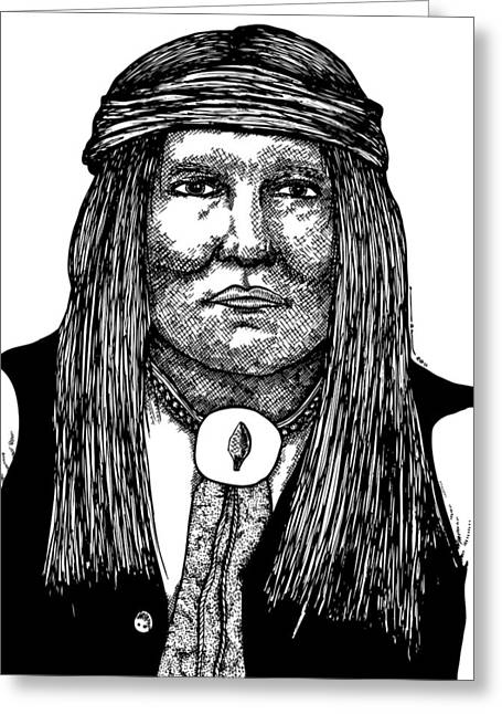Black American Artist Drawings Greeting Cards - Cochise Greeting Card by Karl Addison