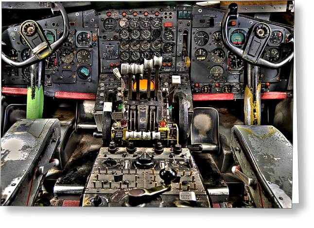 Cockpit Greeting Cards - Cockpit Controls HDR Greeting Card by Kevin Munro