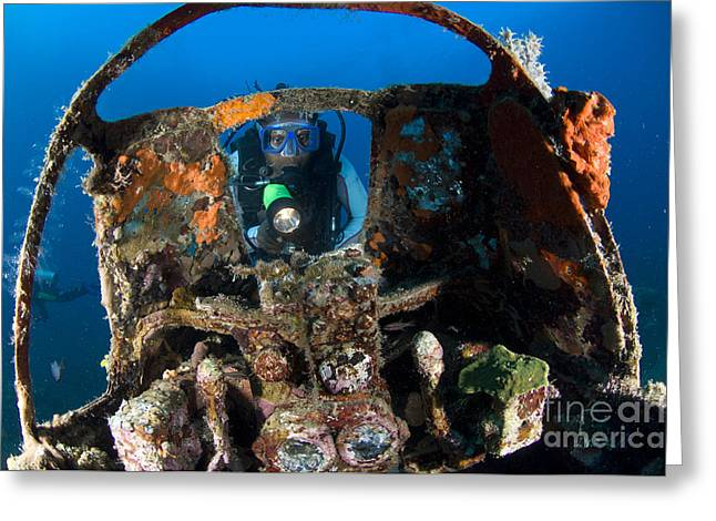 Kimbe Bay Greeting Cards - Cockpit Of A Mitsubishi Zero Fighter Greeting Card by Steve Jones