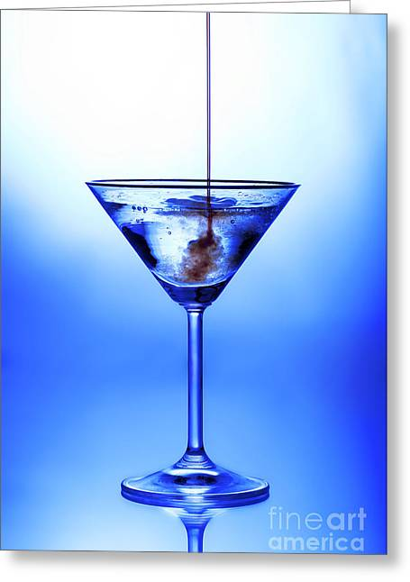 Glass.blue Greeting Cards - Cocktail being poured Greeting Card by Jane Rix