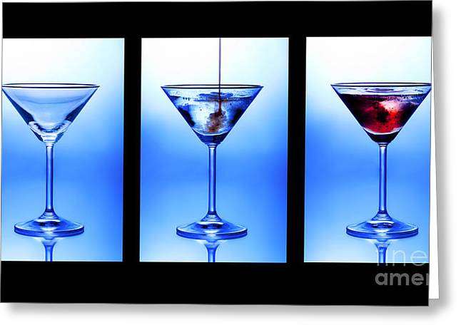 Refreshment Greeting Cards - Cocktail Triptych Greeting Card by Jane Rix