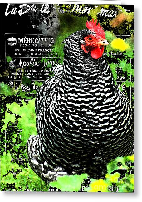 Country Cottage Mixed Media Greeting Cards - Coco the Chicken in Montmartre Greeting Card by adSpice Studios
