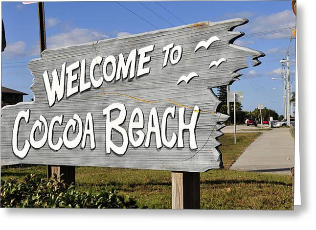 Tiki Art Greeting Cards - Cocoa Beach Welcome Greeting Card by David Lee Thompson