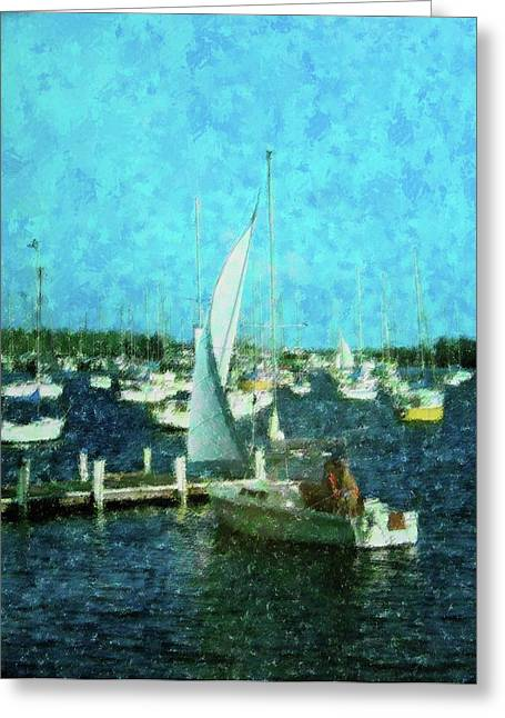 Docked Sailboat Mixed Media Greeting Cards - Coconut Grove Sail Greeting Card by Florene Welebny