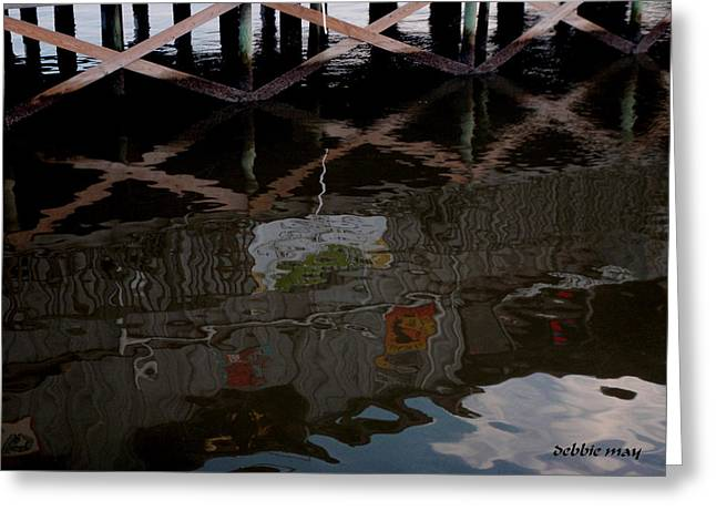 Cedar Key Greeting Cards - Coconuts Wharf-picasso Style Greeting Card by Debbie May