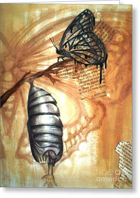 Cocoon Mixed Media Greeting Cards - Cocoon Greeting Card by Lanie Miller