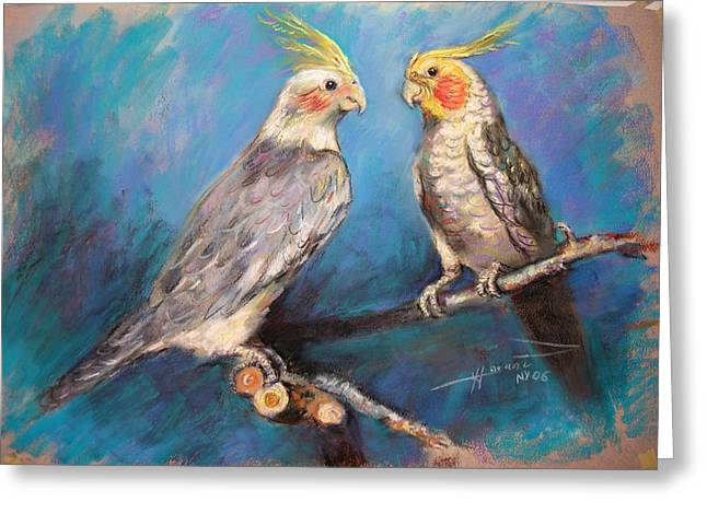Companions Greeting Cards - Coctaiel Parrots Greeting Card by Ylli Haruni