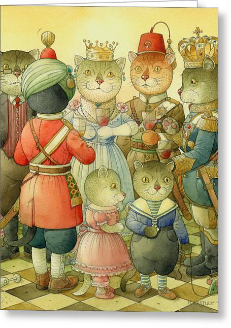 Cat Greeting Cards - Coctail Party Greeting Card by Kestutis Kasparavicius
