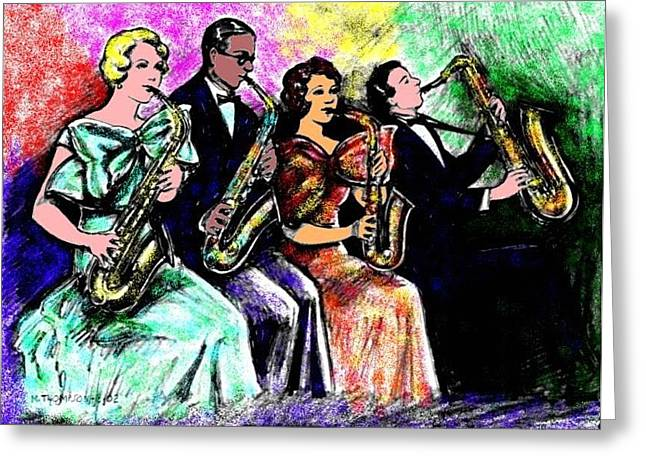 Improvisation Greeting Cards - Coed Sax Section Greeting Card by Mel Thompson