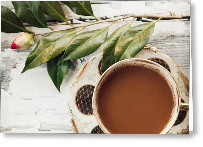Kim Fearheiley Photograph Greeting Cards - Coffee and Camellia Greeting Card by Kim Fearheiley
