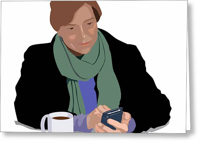 Coffee and Cellphone Greeting Card by Robert Bissett