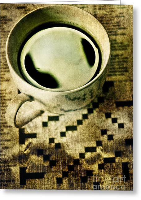 Puzzles Greeting Cards - Coffee and Crossword  Greeting Card by HD Connelly