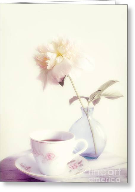 Coffee Table Greeting Cards - Coffee And Flower Greeting Card by HD Connelly