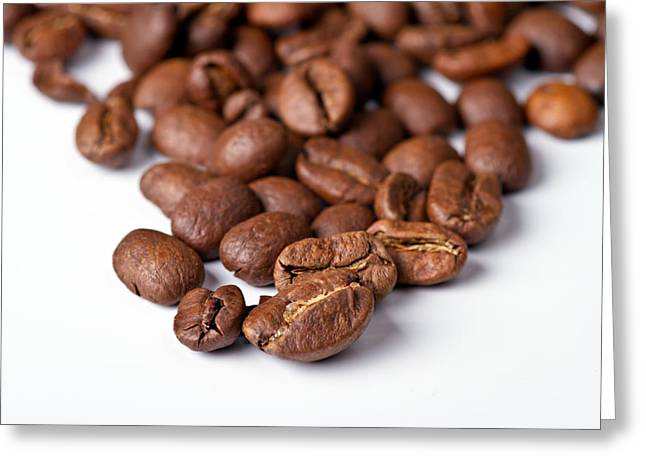 Coffee Drinking Photographs Greeting Cards - Coffee beans Greeting Card by Gert Lavsen