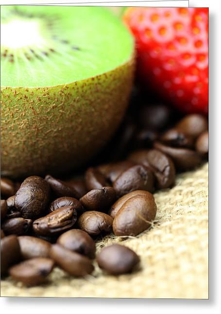 Kaffee Greeting Cards - Coffee beans Kivi Strawberry Greeting Card by Falko Follert
