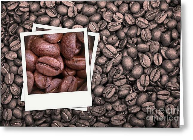 Arabica Greeting Cards - Coffee beans polaroid Greeting Card by Jane Rix