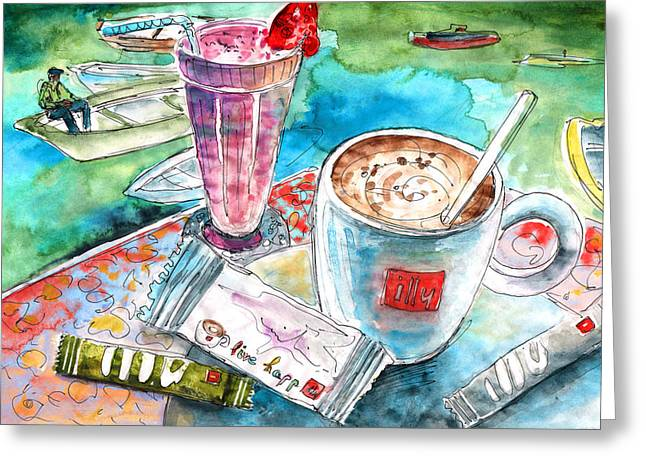 Coffee Break In Agios Nikolaos In Crete Greeting Card by Miki De Goodaboom