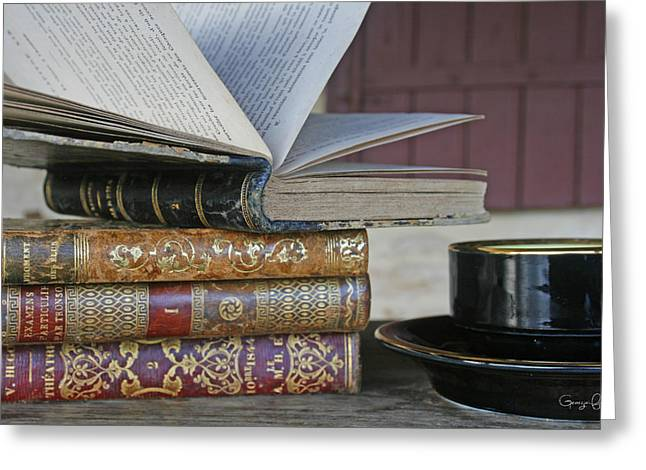 French Open Greeting Cards - Coffee Break with Books Greeting Card by Nomad Art And  Design