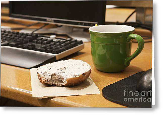 Work Space Greeting Cards - Coffee Cup and Bagel on a Desk Greeting Card by Jetta Productions, Inc