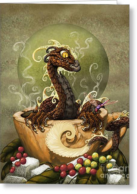 Dragons Greeting Cards - Coffee Dragon Greeting Card by Stanley Morrison
