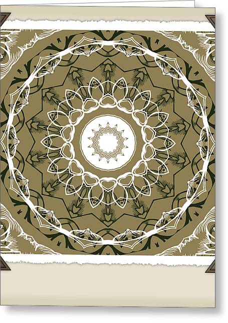 Rotation Greeting Cards - Coffee Flowers 1 Olive Medallion Scrapbook Greeting Card by Angelina Vick