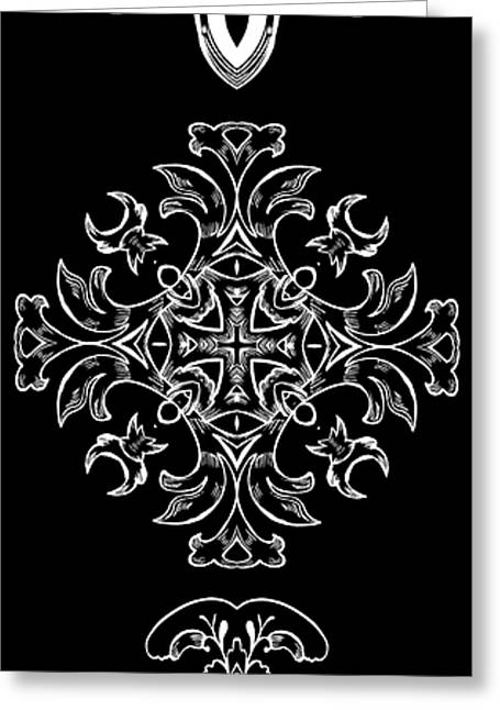Rosette Digital Art Greeting Cards - Coffee Flowers Ornate Medallions BW Vertical Tryptych 1 Greeting Card by Angelina Vick