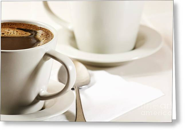 Weekend Photographs Greeting Cards - Coffee in cup Greeting Card by Blink Images