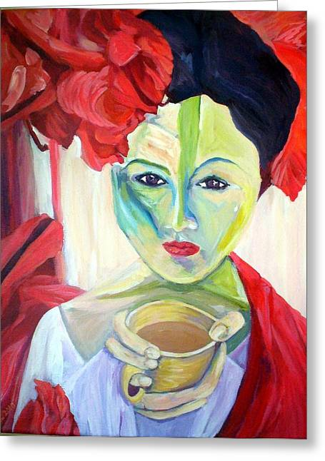Tangerine Greeting Cards - Coffee in the Garden Greeting Card by Stephanie Corder