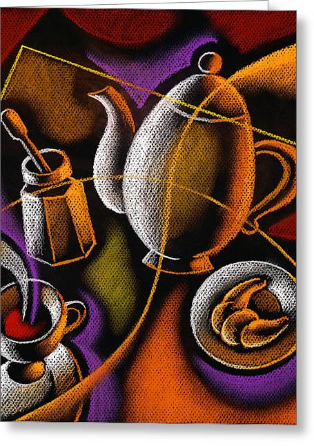 Teacup Greeting Cards - Coffee Greeting Card by Leon Zernitsky
