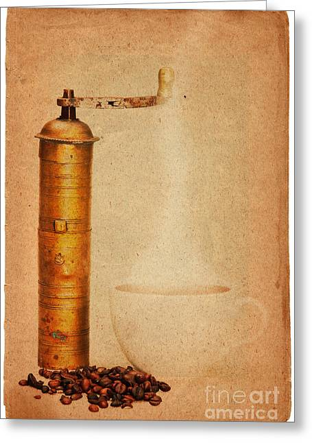 Old Grinders Digital Art Greeting Cards - Coffee Greeting Card by Michal Boubin