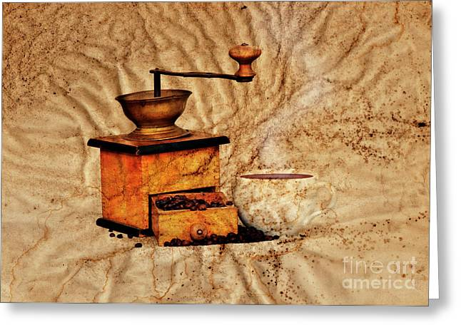 Old Grinders Digital Art Greeting Cards - Coffee Mill And Beans Greeting Card by Michal Boubin