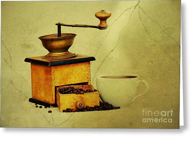 Antique Equipment Greeting Cards - Coffee Mill And Cup Of Hot Black Coffee Greeting Card by Michal Boubin
