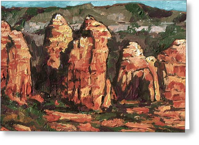 Oak Creek Greeting Cards - Coffee Pot Rock Greeting Card by Sandy Tracey