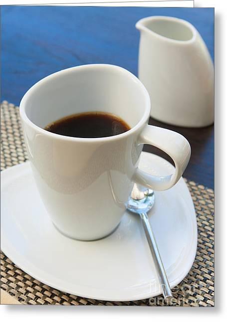 Kitchenware Greeting Cards - Coffee Sir Greeting Card by Atiketta Sangasaeng