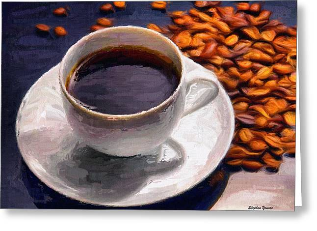 Perk Greeting Cards - Coffee Greeting Card by Stephen Younts