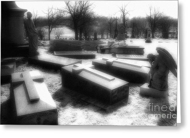Coffins and Angel Greeting Card by Jeff Holbrook