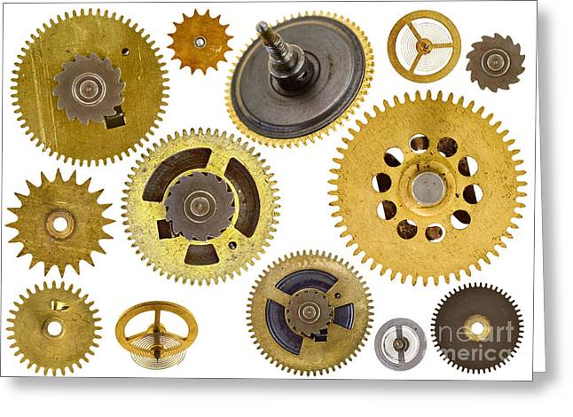Mechanism Photographs Greeting Cards - Cogwheels - Gears Greeting Card by Michal Boubin