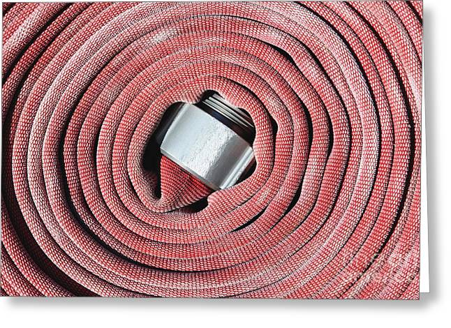 Not In Use Greeting Cards - Coiled Fire Hose Greeting Card by Skip Nall