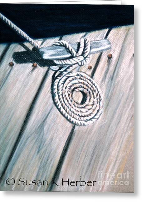 Rope Pastels Greeting Cards - Coiled Greeting Card by Susan Herber