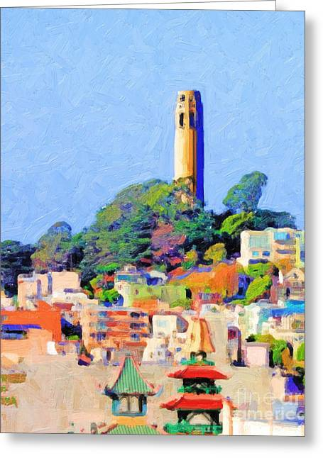 Wings Domain Digital Art Greeting Cards - Coit Tower and The Empress of China - Photo Artwork Greeting Card by Wingsdomain Art and Photography