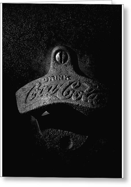 Bottle Cap Greeting Cards - Coke Bottle Opener - BW Greeting Card by Steve Hurt
